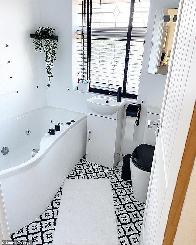 The savvy homeowner used Frenchic paint and accessories from eBay, Dunelm and Amazon to give her bathroom a luxurious monochrome look. Pictured, the bathroom after the transformation