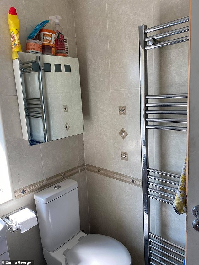 Emma George, 27, from Birmingham, gave her dull-looking bathroom a modern update - for just £200. Pictured, before the transformation